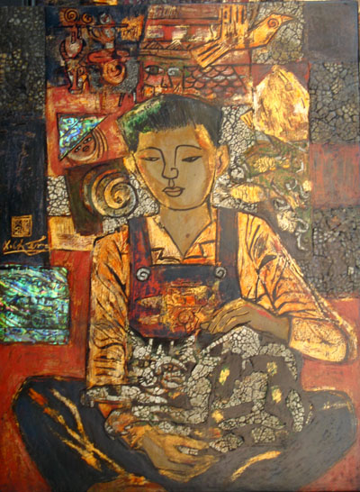 Title : Boy and Cat , Dimension : 45 x 60 cm , Medium : Lacquer , Year 2009 , Price : 2000$