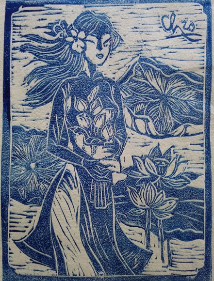Title : The lotus is blue   , Dimension : 25 x 20 cm  , Medium : Rubber engraving , Year : 2020 , Price 200$.